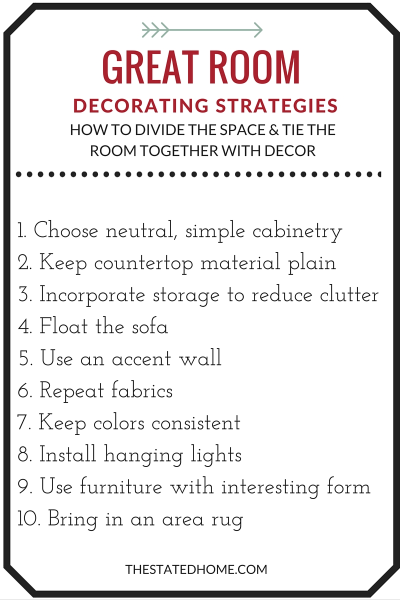 Great Room Layout Ideas and Decorating Tips | The Stated Home